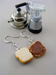 Nutella Sandwich Earrings (Shay Aaron) Tags: food coffee spread miniature handmade chocolate aaron fake mini jewelry polymerclay fimo tiny faux shay nutella geekery jewel petit beakfast openfaced              shayaaron wearablefood        bread