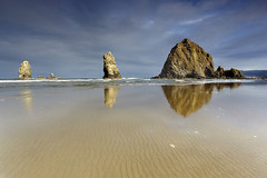 Needles and a Haystack #1 - Cannon Beach, Oregon (PatrickSmithPhotography) Tags: ocean travel wallpaper sky usa cloud art beach nature rock oregon canon landscape geotagged coast sand bravo seagull wave erosion haystack 5d lowtide needles cannonbeach haystackrock naturesbest mkii oceanviews photocontesttnc11
