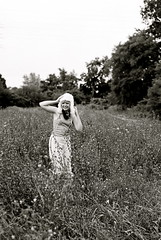 Garden of Earthly Delights 3 (Deb Mazer) Tags: flowers summer portrait blackandwhite favorite white toronto black tree cute film girl smile field hat fun happy weeds furry nikon hand photoshoot arm baseball trendy bayview bandana delicate velinda