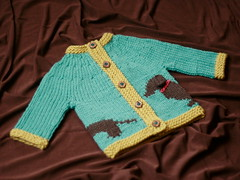Willie! (flint knits) Tags: dog baby kids sweater knitting pattern knit dachshund wiener willie intarsia