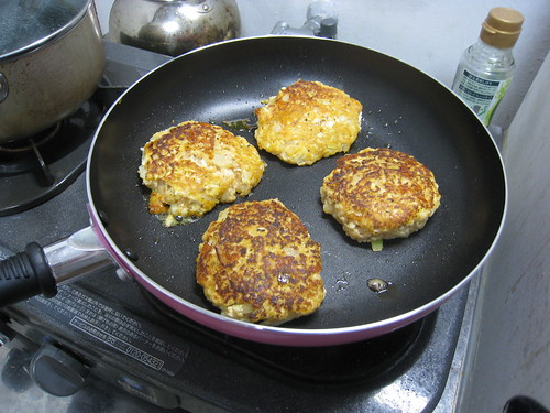 Tofu Patties Cooking