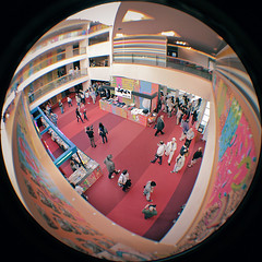 FEFF 13 (2011) (pierofix) Tags: red film festival architecture digital canon circle lens fun teatro eos funny market digitale wide wideangle super east fisheye 13 rosso foyer grandangolo far architettura 45mm circular giovanni divertente cerchio palla allestimento udine cec nuovo 2011 feff tonda reducer focale 025x 400d riduttore richarm