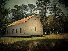 There are things known, and there are things unknown. And in between are the doors. (evanleavitt) Tags: life county white house church architecture rural ga georgia hope soft jasper place darkness symbol god decay south faith country meeting faded american despair