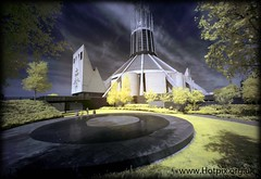 Metropolitan Cathedral of Christ The King, Liverpool, UK in Infrared (Hotpix [LRPS] Hanx for 1.5M Views) Tags: street camera city uk travel red england color colour building liverpool buildings ir concrete hope see town catholic cathedral paddy smith tony historic cameras wig beatle infrared what beatles infra mersey funnel false thebeatles adapted wigwam wam hoya paddys r72 hotpix 720nm tonysmith hotpixcom