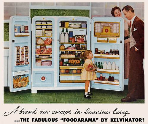 foodarama first side by side refrigerator 1953 vintage ads. Black Bedroom Furniture Sets. Home Design Ideas