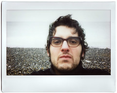 Selfportrait (Monochrome Chicken) Tags: beach kino fuji wide 200 normandie plage pourville instax courtmetrage