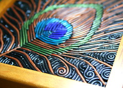 Peacock feather jewelry box (starlessclay) Tags: polymerclay jewelrybox filigree birdfeather peacockfeather