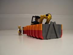 Mini Excavator In Dumpster/Bin (Ricecracker.) Tags: dumpster cat construction lego fig mini off bin figure vehicle roll minifig roro excavator minifigure miniexcavator rollon 3025 rolloff minifigscale
