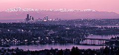 Split-Flickr-Toned Sunrise - Seattle (Jeff Engelhardt) Tags: seattle morning pink blue snow mountains color water sunrise canon newcastle early flickr post lakewashington spaceneedle mercerisland olympics peaks range bellevue hilltop splittone 40d jeffengel jeffengelhardt