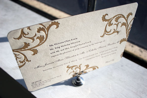 Vettore letterpress wedding invitations - 2 colors - Smock