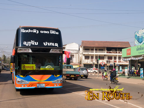 Laos VIP Bus on the Road