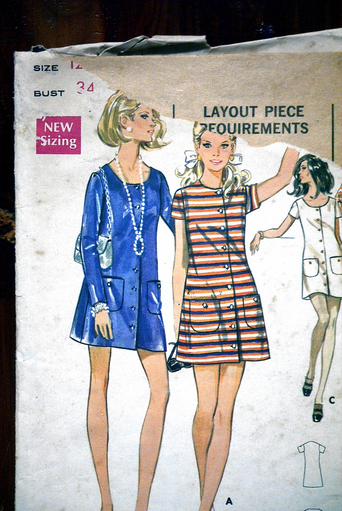Patterns By Vintage 1970s Discontinued Vintage FRONT BUTTON CLOSING, SCOOP or ROUND NECK, ONE-PIECE RETRO DRESS Sewing Womens Clothing Pattern Size 12 Butterick 5528