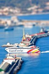 EuroFerrys Tilt-shift (Darksein) Tags: blue espaa port puerto mar spain barco ship ceuta tiltshift bocana euroferrys