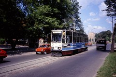 Toru - Torun, MZK Tramwaj - Konstal 805Na tram nr 213, Poland  Aug 1990 (sludgegulper) Tags: 3 tram thorn 213 torun tramwaj toru 805n linia konstal 805na