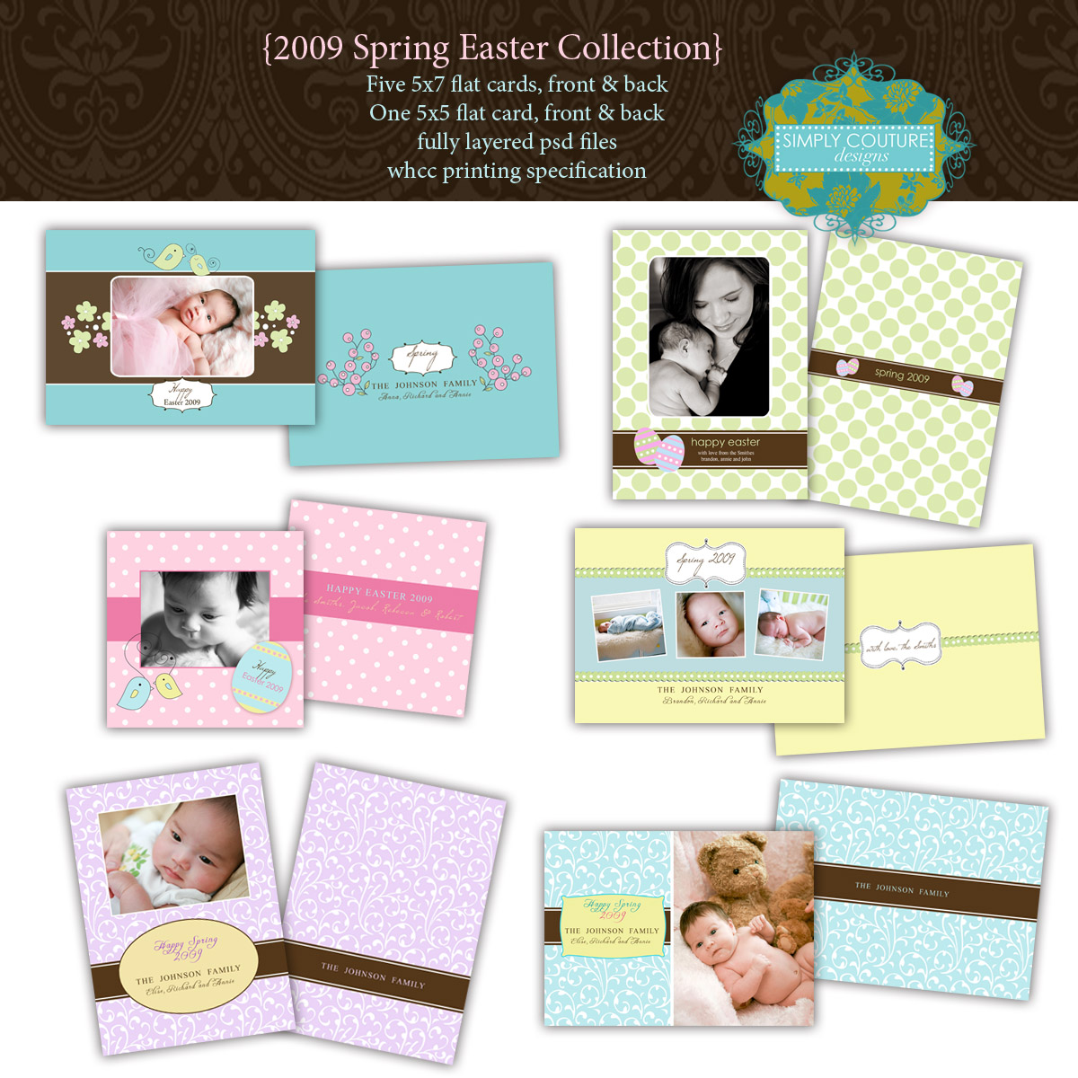 Simply couture designs custom photo card templates including baby here are the close up pictures of the cards click on the images to see them larger maxwellsz