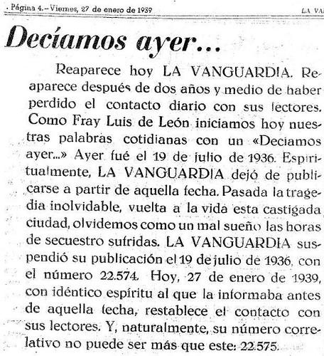 La Vanguardia 27-1-1939: Decíamos ayer...