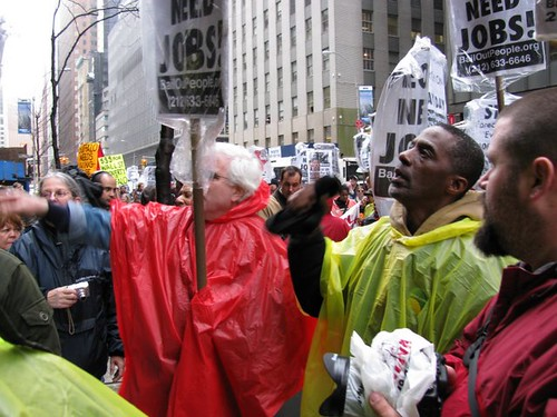 Demonstration organized by the Bail Out the People Movement (BOPM) outside Bank of America on April 3, 2009 in New York City. (Photo: Alan Pollock) by Pan-African News Wire File Photos