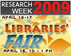 Libraries Fair! Wed, April 15, 10-1pm
