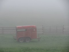 The horse trailer in the early morning fog (debstromquist (who hates the new Facebo...er Flick) Tags: fog whatevertheweather gates kentucky ky pastures easternkentucky barbourville fogandrain horsetrailers teresashouse fabulousfog iheartfog3 funwithhorsetrailers sekentucky