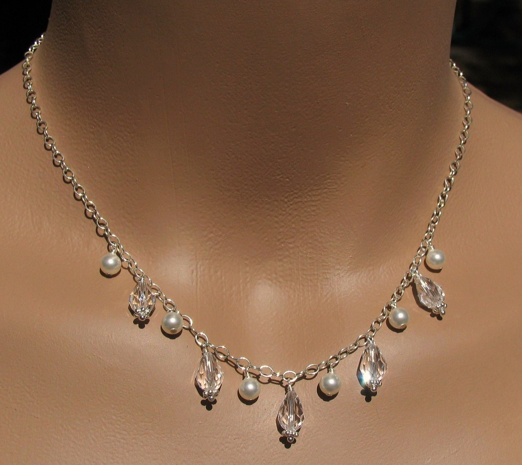 Swarovski Teardrops and Pearls on Chain Necklace