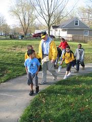 Senator Bond walks with the West Boulevard Elementary Walking School Bus
