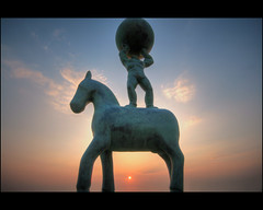 Horse and Atlas (mliebenberg) Tags: sunset sculpture coast landscapes northwest sunsets promenade blackpool sculptures hdr fylde blueribbonwinner hdrphotography hdrphotos markliebenberg markliebenbergphotography