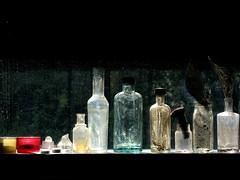 - no flowers - (Jacqueline ter Haar) Tags: window glass bottles stilleven raam darklight naturemorte zonlicht kleuren arboretumtrompenburg