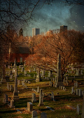 Mystical Night (Judy Knesel) Tags: trees ny texture cemetery grave stone night buildings rochester monuments tombstones starry mthope nikond200 nikkor18200vr judyknesel