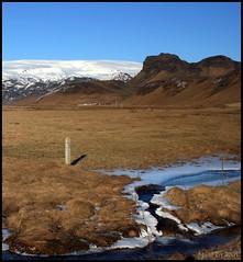 Steig, (a farm). (Ágúst Eir) Tags: snow nature water landscape iceland glacier jökull mýrdalsjökull fjöll fjall lækur terrascania omot girðing mýrdalur vesturskaftafellssysla absolutelystunningscapes