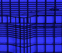 Blue Cage (Andrea Kennard) Tags: blue abstract lines wire squares finsburypark