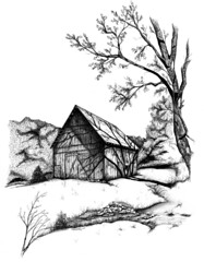 Slow Road Barn ~ art by Ron Campbell