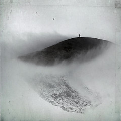 Torn Between Two Worlds (Midnight - digital) Tags: mist snow man mountains art nature birds fog mystery clouds square weird solitude mood alone loneliness surrealism digitalart dream surreal atmosphere eerie creation fantasy mysterious dreamy surrealist bizarre enigmatic dreamcatcher midnightdigital hourofthesoul christophedessaigne