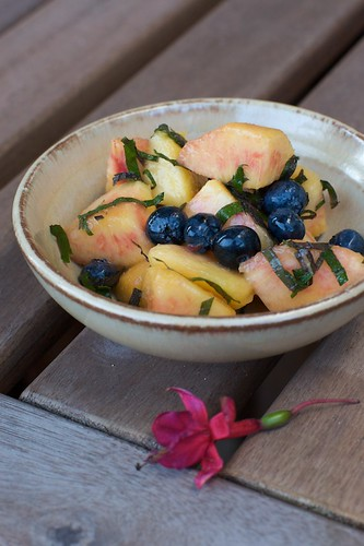 Peach, Blueberries & Shiso Salad