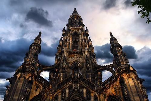 フリー画像| 人工風景| 建造物/建築物| スコット記念塔| イギリス風景|       フリー素材|