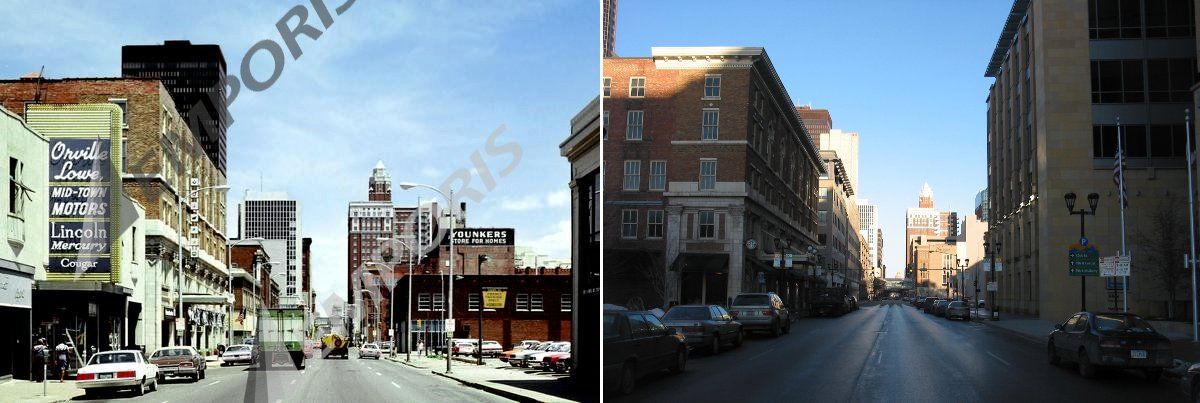 10th and Locust looking East, 1979 and 2009