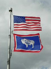 United States and Wyoming State Flags