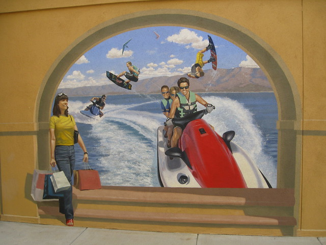 trompe d oeil wallpaper. Wall Mural - Water Sports - Trompe L'Oeil. Outlet Center @Lake Elsinore,