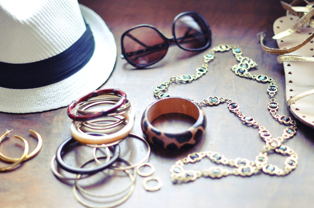 hat and sunglasses and jewelry and shoes