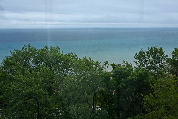 Foggy, Rainy, Through-a-Dirty-Window View of Lake Michigan from the North Point Lighthouse in Milwaukee, Wisconsin