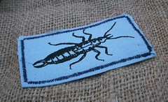 Earwig Patch (Knottwood) Tags: bug insect handmade fabric silkscreen etsy patch printed earwig