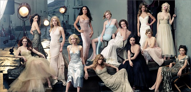 (left to right) Hollywood actresses Julianne MOORE, Jennifer CONNELLY, Gwyneth PALTROW, Naomi WATTS, Salma HAYEK, Jennifer ANISTON, Kirsten DUNST, Diane LANE, Lucy LIU, Hilary SWANK, Alison LOHMAN, Scarlett JOHANSSON, and Maggie GYLLENHAAL, on Stage II of by Ria89