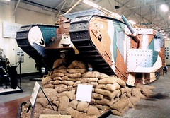 Bovington 1987 (Beardy Vulcan) Tags: november autumn england fall wool museum war tank interior 1987 weapon dorset 20thcentury olympusom1 bovingtoncamp worldwar1 wareham sandbag bovington bovingtontankmuseum