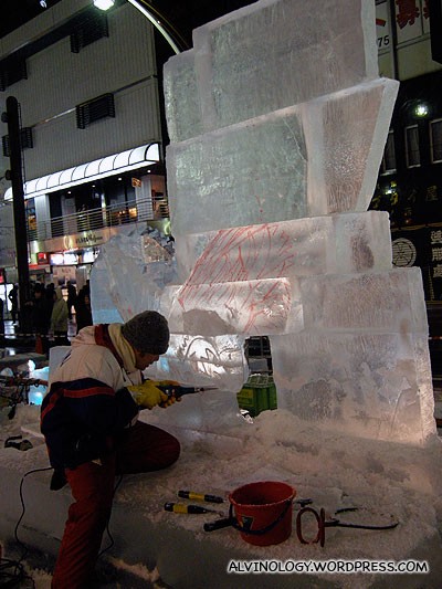 Work-in-progress ice sculpture