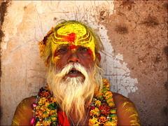 Un Portrait Indien (Christian Lagat) Tags: portrait india man flower colour fleur beard paint garland sage peinture couleur guirlande barbe sadhu homme inde madhyapradesh orchha भारत nikkor50mmf18d nikond40x