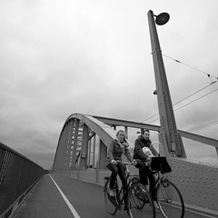 The John Frost bridge over the Rhine river (Oxidiser) Tags: bridge people cyclists arnhem bicycles brug rhine fietsen rijn mensen operationmarketgarden johnfrost battleofarnhem