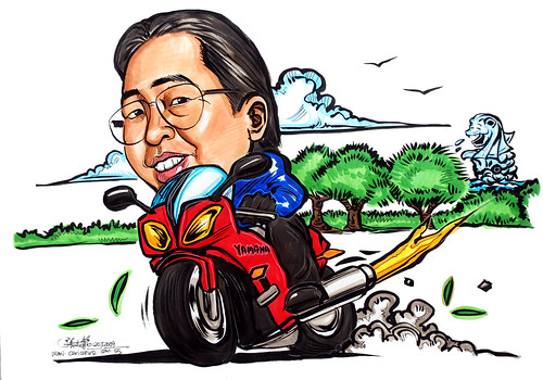 Caricature for Yamaha on bike