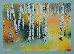 birch forest (jani.na) Tags: blue trees red orange white black rot art yellow forest painting paper gelb stems watercolour birch 1983 blau gouache papier wald weiss schwarz jani airbrush farben paints birke aquarell wasserfarbe birkenwald janinanavati