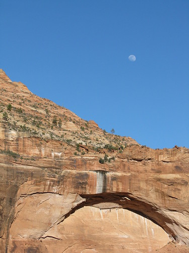 moonrise over the great arch of zion