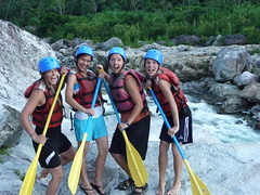 Monika, Charity, Hannah and Jenny enthuse about white water rafting during their free travel.