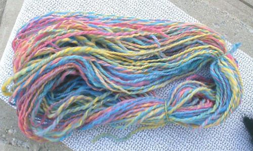 Rainbow colored corriedale handspun yarn
